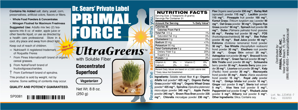 PRIMAL FORCE New Ultra Greens Ingredients